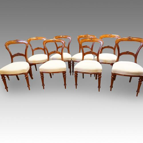 Set of 8 Victorian Walnut Dining Chairs (1 of 1)