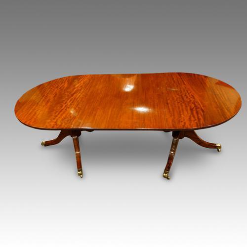 Regency Style Mahogany Twin Pillar Dining Table (1 of 1)