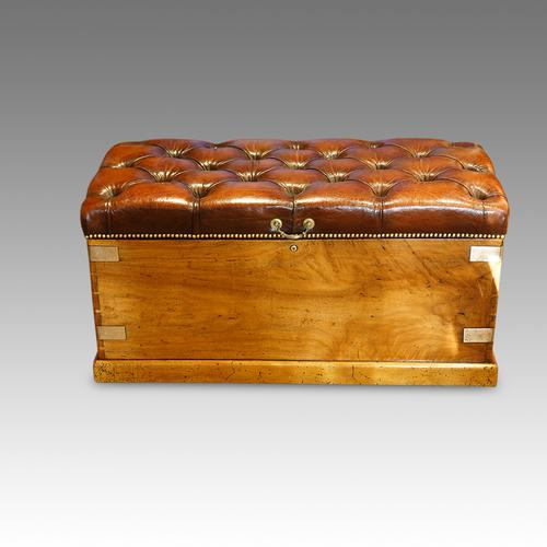 Victorian Leather Camphor-Wood Ottoman (1 of 1)