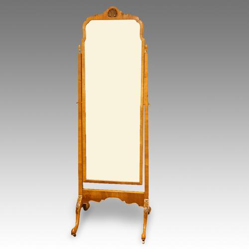 Walnut Cheval Dressing Mirror C.1920 (1 of 1)