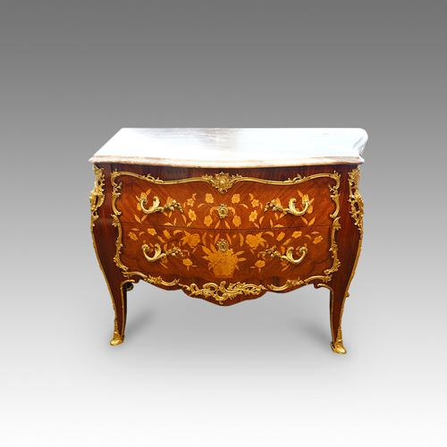 French Inlaid Serpentine Marble Top Commode C.1930 (1 of 1)