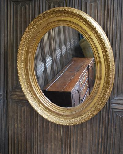 Large Antique Oval Gilded Mirror c.1890 (1 of 5)