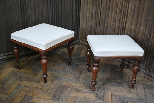 Near Pair of English Upholstered Foot Stools (1 of 7)