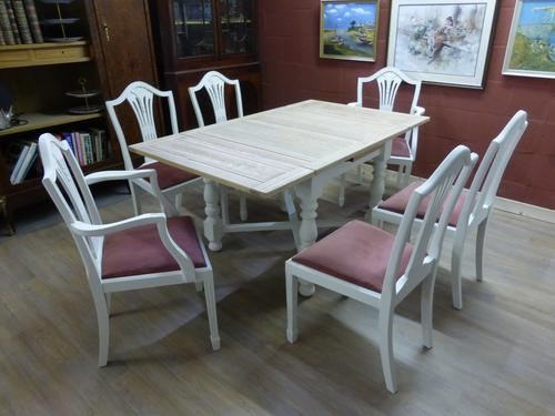 Stunning Painted Table & 6 Chairs c.1920 (1 of 11)