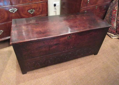 Superb 17th Century Oak Carved Marriage Coffer (1 of 7)