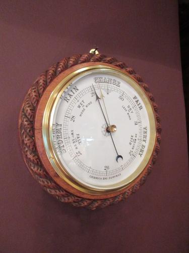 Large Victorian Antique Polished Oak Dumfries Barometer (1 of 6)