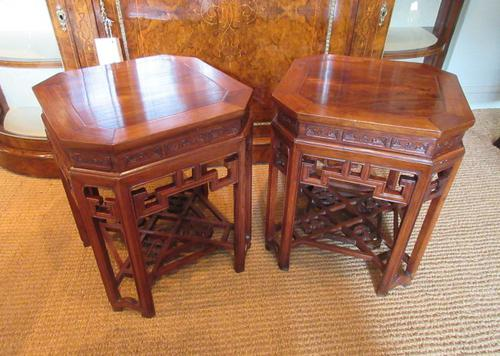 Superb Pair of Oriental Antique Lamp Tables (1 of 6)