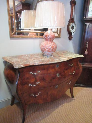 19th Century Antique Walnut Inlaid Bombe Fronted Chest (1 of 11)