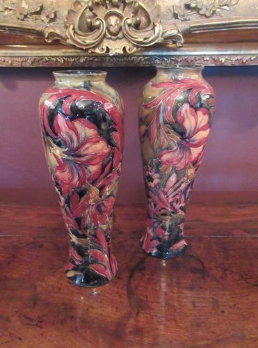 Superb Pair of Antique Moorcroft Spanish on Ochre Vases (1 of 7)