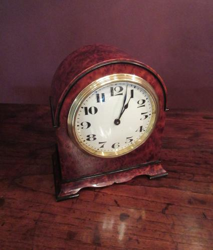 Small Antique Amboyna & Ebony Inlaid Mantel Clock (1 of 8)