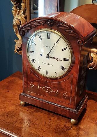 William IV Flame Mahogany Fusee Bracket Clock (1 of 5)