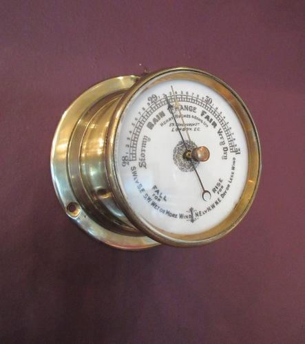 Victorian Antique Brass Bulkhead Marine Barometer (1 of 6)