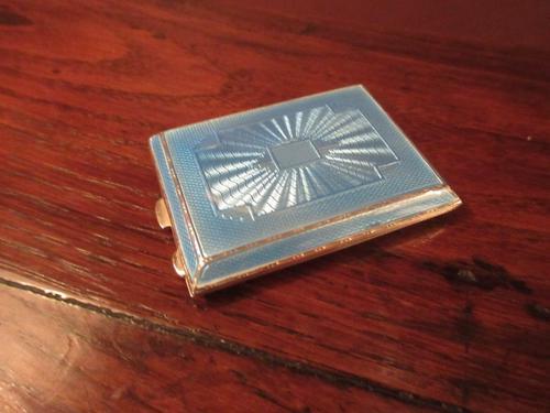 George V Silver & Pale Blue Enamel Card Case (1 of 6)