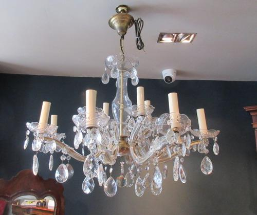 Antique Crystal Cut Glass Two Tier Chandelier (1 of 7)