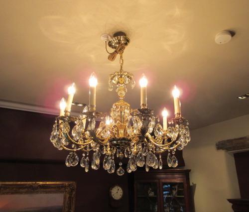 Superb Antique Brass & Crystal Cut Glass Chandelier (1 of 8)