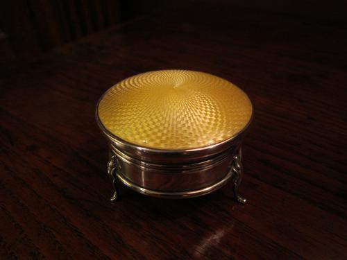 High Quality George V Silver & Enamel Ring Box (1 of 1)