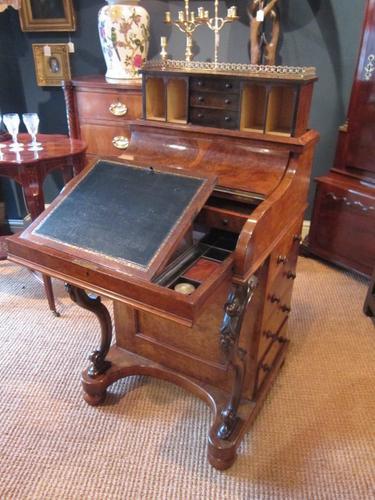 Superb Victorian Burr Walnut Harlequin Davenport Desk (1 of 1)