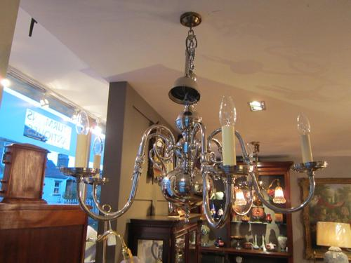 High Quality Edwardian Nickel Plated Chandelier (1 of 1)