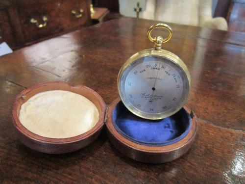 Large Victorian London Campaign Barometer in Case (1 of 1)