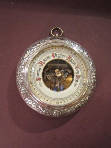 Superb Rare Victorian Silver Mounted Barometer (1 of 1)