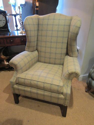 Comfortable Edwardian Upholstered Wing Armchair (1 of 1)