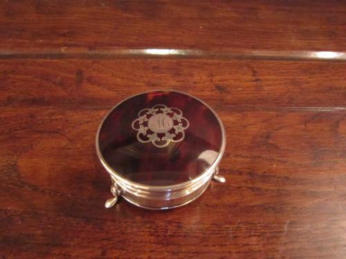 High Quality George V Silver & Tortoiseshell Ring Box (1 of 1)