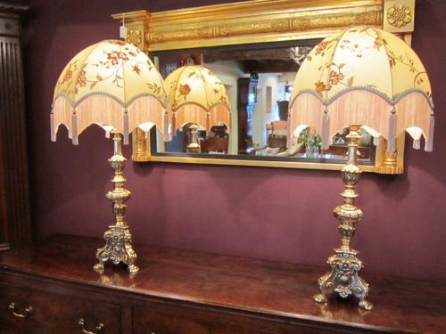 Superb Pair of Edwardian Bronze Church Candlestick Lamps (1 of 1)