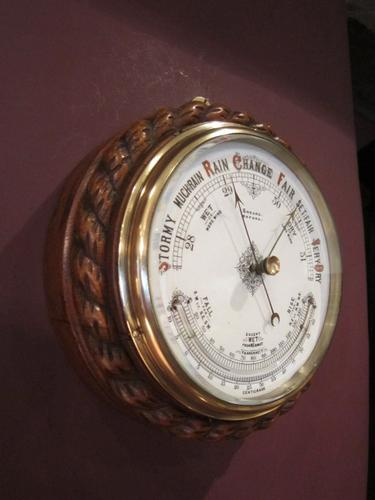 Top Quality Victorian Ships Aneroid Barometer (1 of 1)