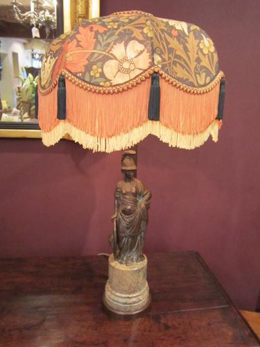 Heavy Quality 1930s Bronze Table Lamp & Shade (1 of 1)