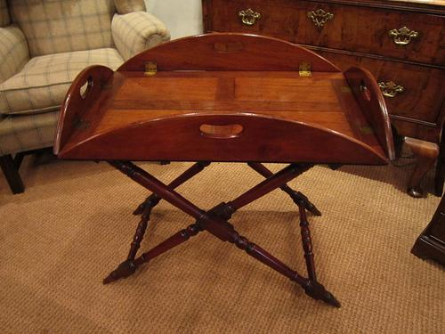 Top Quality Early Victorian Mahogany Butlers Tray on Stand (1 of 1)