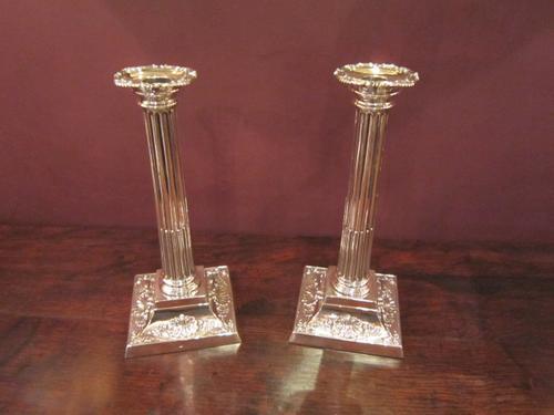 Superb Pair of Victorian Silver Corinthian Candlesticks (1 of 1)
