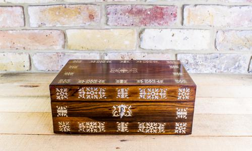 Rosewood with Mother of Pearl Inlay Table Box c.1830 (1 of 1)