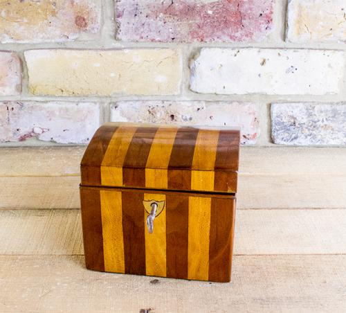 Striped Satinwood Single Tea Caddy c.1840 (1 of 1)