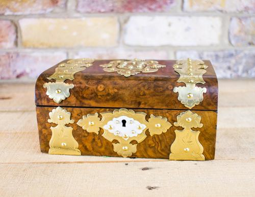 Burr Walnut Brass Overlay Table Box c.1870 (1 of 1)