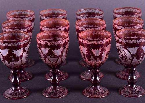 Set of 12 Bohemian Ruby Red Wine Glasses (1 of 1)