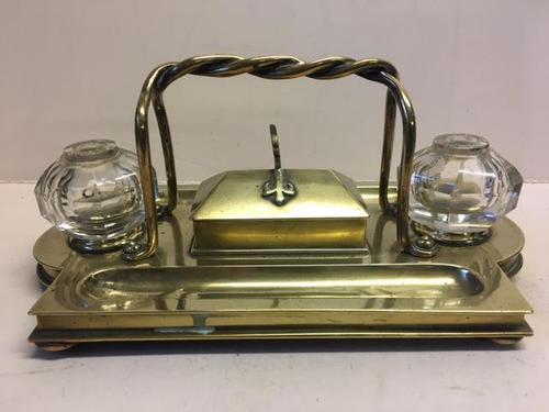 19th Century Brass Standish (1 of 1)