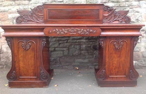 19th Century Carved Pedestal Sideboard (1 of 1)