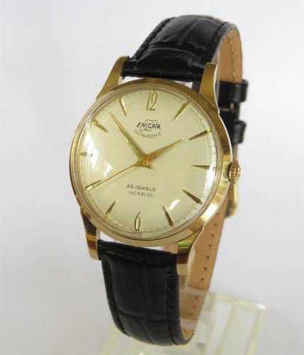 Gents 9ct Gold Enicar Ultrasonic Wrist Watch, 1956 (1 of 5)
