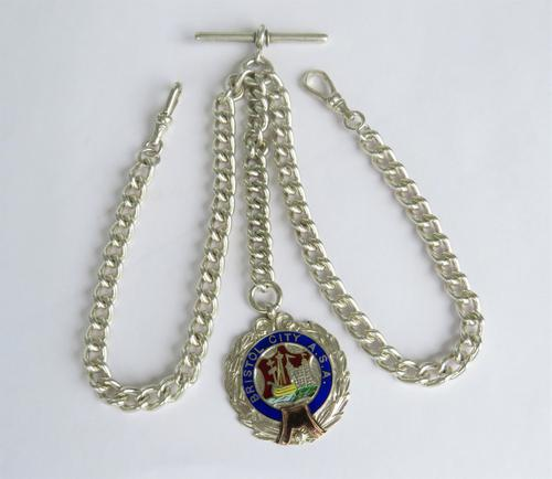 Silver Double Watch Chain & Bristol Fob (1 of 3)