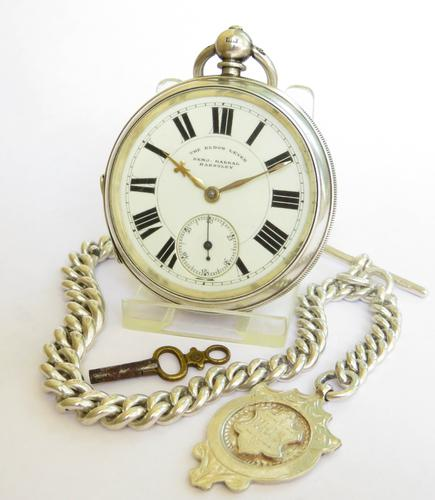 Large Antique the Eldon Lever Pocket Watch & Chain (1 of 6)