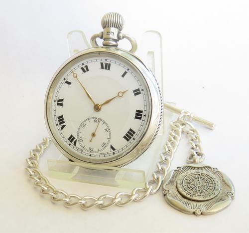 Antique Silver Buren Pocket Watch & Albert (1 of 5)