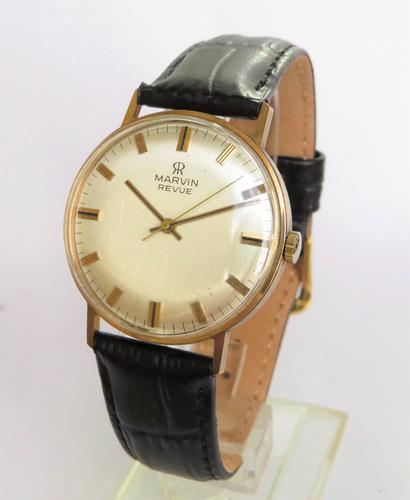 Gents 9ct Gold Marvin Revue Wrist Watch (1 of 5)