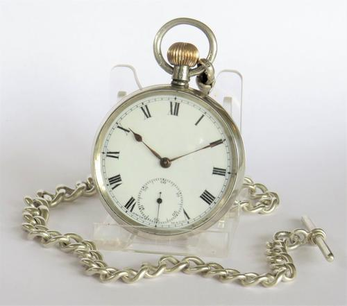 Antique Silver Pocket Watch & Chain (1 of 5)