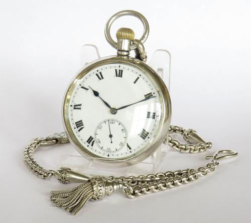 Vintage 1930s Silver Syren Pocket Watch & Chain (1 of 4)