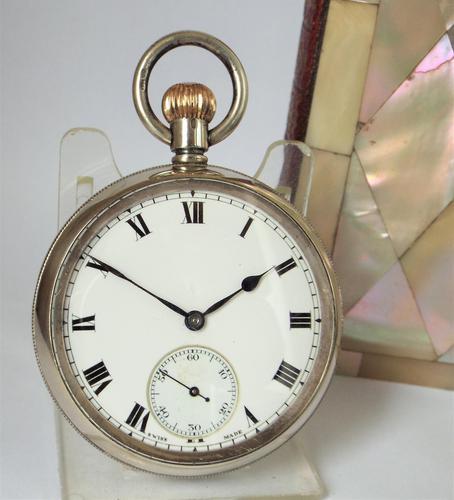 Antique 1908 Swiss Silver Pocket Watch. (1 of 5)