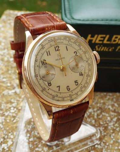 Gents 18ct Rose Gold Helbros Chronograph, 1940s/1950s (1 of 1)