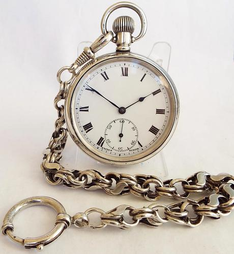 1919 Silver Pocket Watch & Chain (1 of 1)