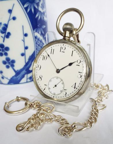 Antique 1908 Eterna Pocket Watch with Chain (1 of 1)