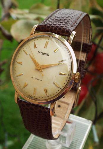 Gents 9 Carat Gold Majex Wrist Watch, Late 1950s (1 of 1)