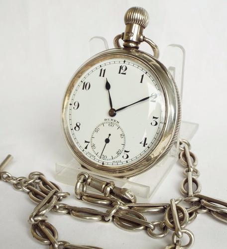 Silver Buren Grand Prix Pocket Watch & Chain 1937 (1 of 1)